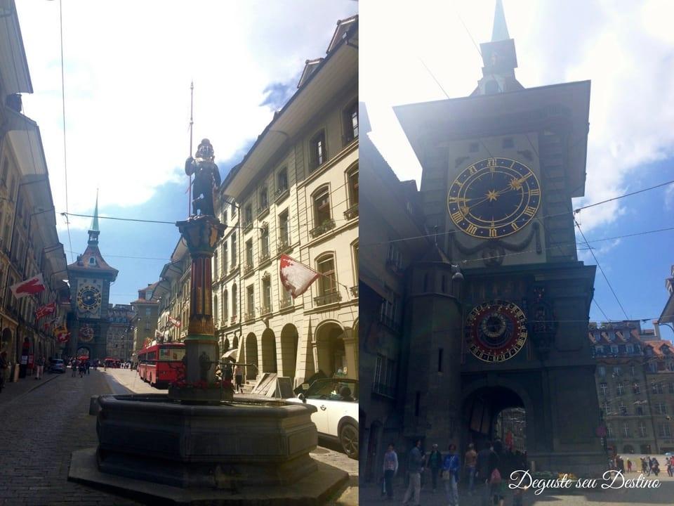 Uma das fontes medievais da cidade e a Torre do Relógio.