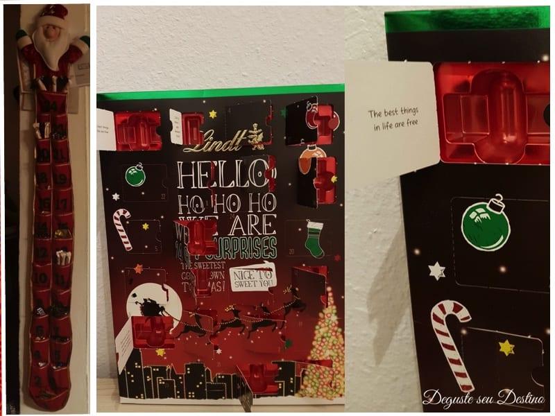 Calendário do Advento de saquinhos com diferentes chocolates em cada saquinho e calendário de janelinhas do chocolate Lindt, com mensagens ao abrir cada janela.